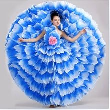 Flamenco dance costume expansion dress modern dance performance wear petal skirt spanish flamenco dress 540 720 with headress //FREE Shipping Worldwide //