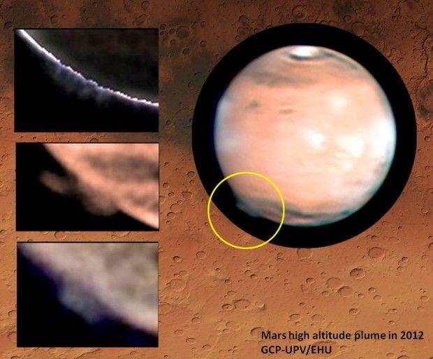 Astrônomos amadores descobriram estranhas nuvens em Marte, muito mais altas que as que costumam aparecer no planeta vermelho. Sua natureza até agora é desconhecida e intriga os cientistas.