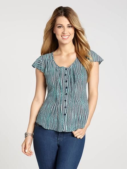 """Laura Petites: for women 5'4"""" and under. Sharpen up your look in sleek, savvy style with this printed blouse! For work or weekend, it's the perfect option to take your casual-chic style to polished new heights!...4010336-0446"""