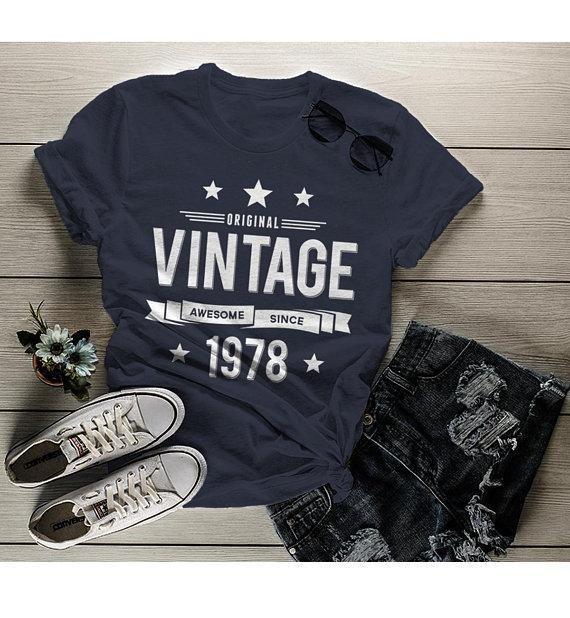Women's 40th Birthday T Shirt Original Vintage Shirt Awesome Since 1978 Tshirt