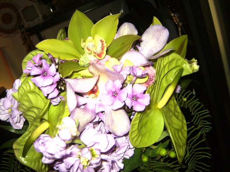 Green Cymbidiums Orchids, Purple Phlox and Green Anthuriums. Bridesmaid Bouquet.