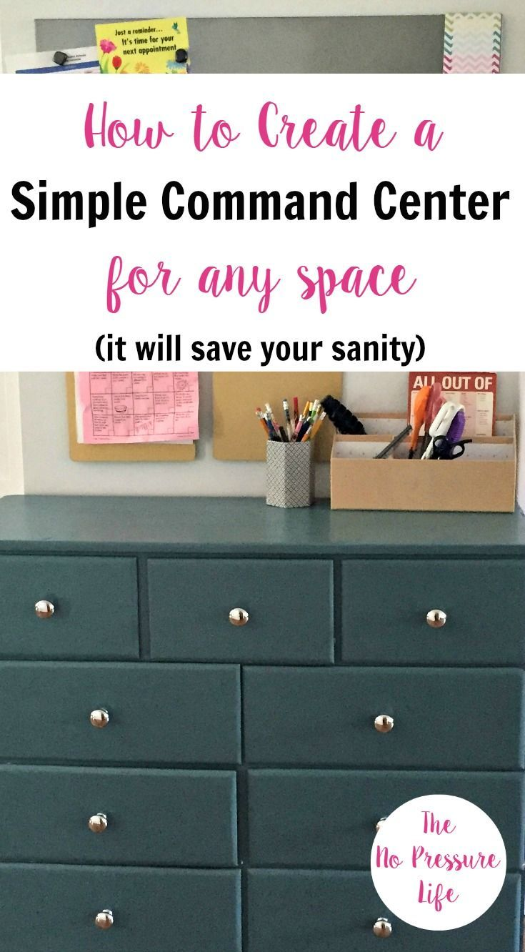 Great ideas for a practical, cheap family command center - even in small spaces! Learn how to create a DIY command center that works for your family, whether you put it on the wall in the kitchen, entryway, or another spot! #commandcenters #organizedhome #organization #entryway #backtoschool via @nopressurelife