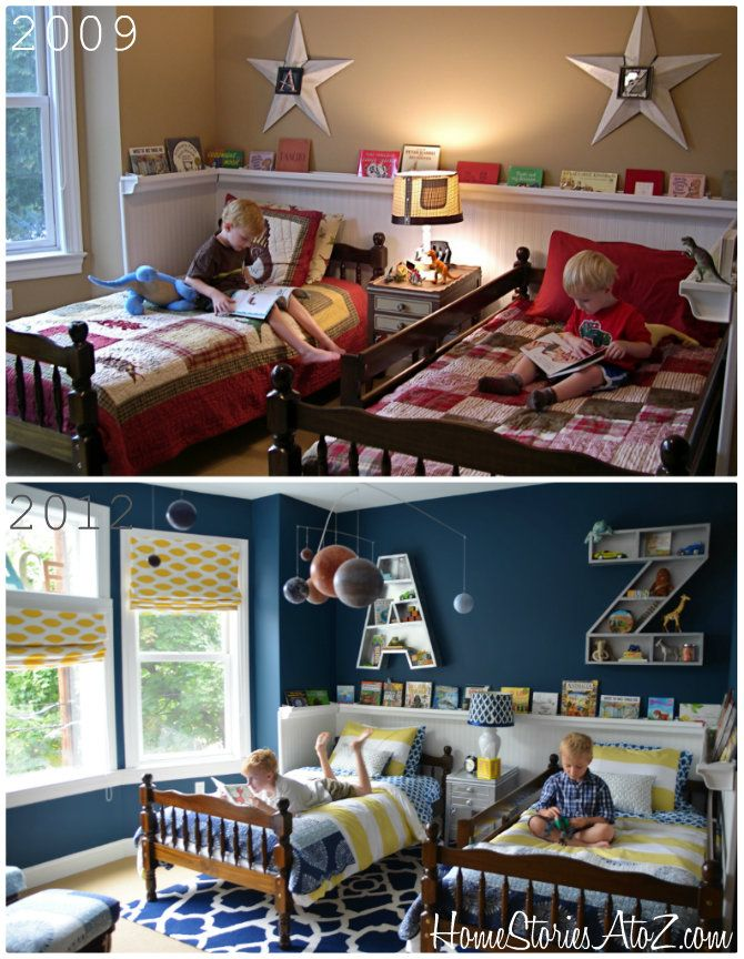 Boys bedroom with two different looks. Very cool and affordable raingutter bookshelf.
