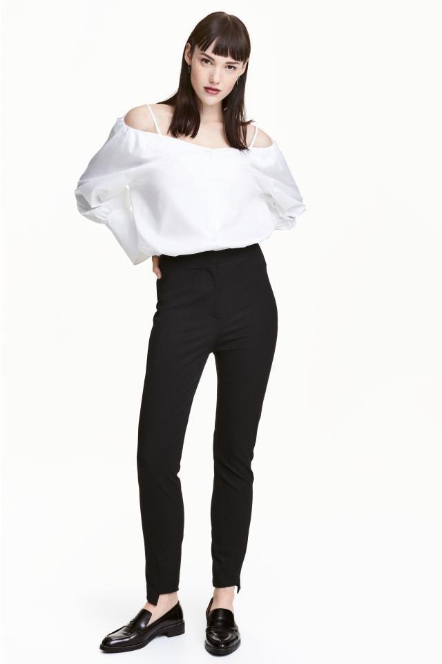 Узкие брюки: Брюки из ткани стретч. Талия стандартной высоты с потайным крючком. Узкая модель с закошенными боковыми швами. Асимметричный низ.