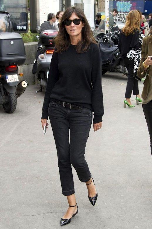 Le Fashion Blog 11 Ways To Wear Kitten Heels Emmanuelle Alt Street Style Ray Ban Wayfarer Sunglasses Black Sweater Cropped Jeans Ankle Strap...