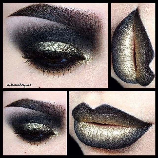 """""""✨Ornaments of Gold✨ (song by Siouxsie & The Banshees that I was listening to all day that inspired this look)  Lips - @five11_cosmetics """"Rich"""" & """"Black…"""""""
