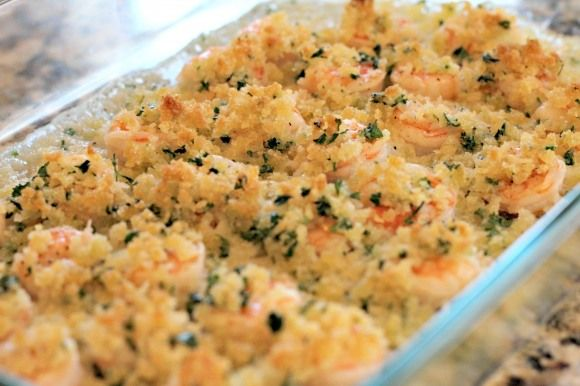 Garlicky Baked Shrimp: It's a great weeknight meal because it only takes about 5 minutes to prepare and then 15 minutes to cook.  The panko crumb coating on the top of the shrimp gives a perfect crunchiness to this dish.  It's almost like you get the crispy texture of breaded shrimp without all the work.  The garlic and the white wine add so much flavor!