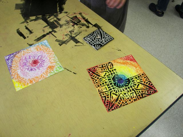 5th grade - hand color paper - use a square of sytrofoam to carve into and print 4 times on paper. Symmetrical
