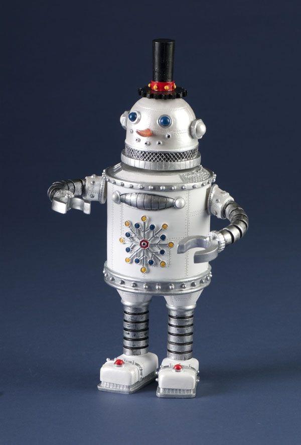 Retro Musical Decorative Snowman Robot Christmas Figure
