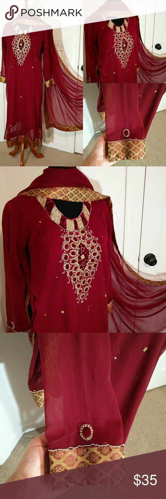 Indian Pakistani Maroon embroidered dress This is a beautiful dress perfect for this wedding season. The dress looks more pretty in person. Worn just once just the neck need to be fixed that can be seen in the picture other than that still looks new. Originally bought for $100 Comes with a dupatta/stole and shirt.  Please look at the measurements before buying.  Measurements : Length = 46.5 inches Sleeves = 21 inches Bust = 20 inches Dresses