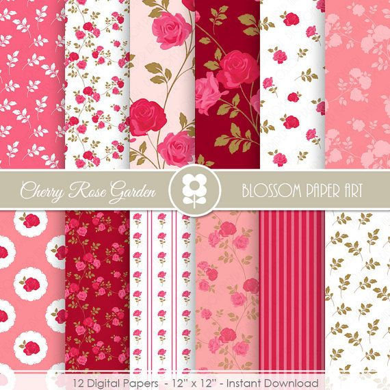 Pink Rose Digital Paper Shabby Chic Digital by blossompaperart