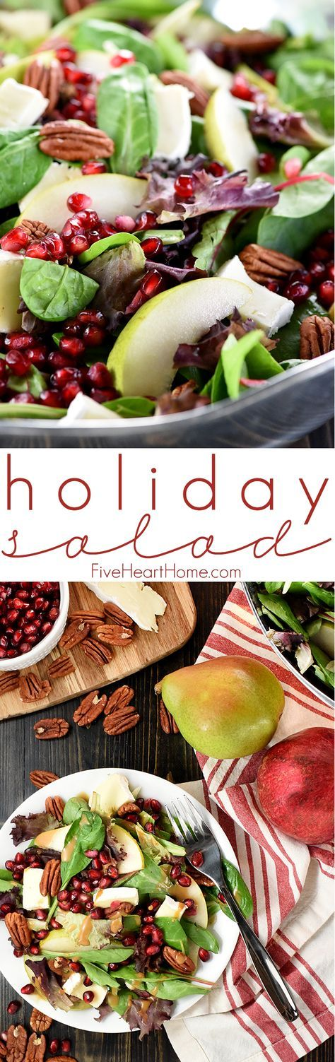Holiday Salad ~ this gorgeous Pomegranate, Pear, Pecan, & Brie Salad with Homemade Balsamic Vinaigrette is loaded with vibrant colors and flavors and contrasting textures. It would be the perfect addition to your Thanksgiving or Christmas holiday table, or it would make any dinner special!   http://FiveHeartHome.com