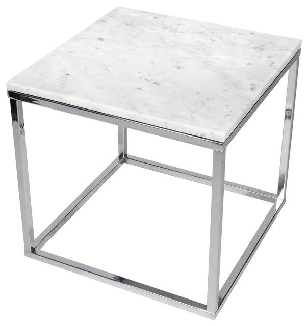Prairie 20 x 20 Marble End Table in White Marble Top / Chrome Legs | 9500.625053-TemaHome | TemaHome