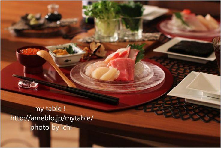 ちょっとおめかし半月盆で手巻き~手巻き~|my table !