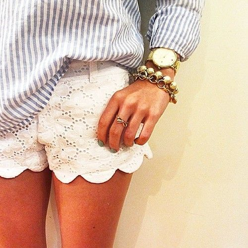 Scalloped lace shorts are super comfortable and on trend for the weekend. #fashion #beautiful #pretty Please follow / repin my pinterest. Also visit my blog http://mutefashion.com/