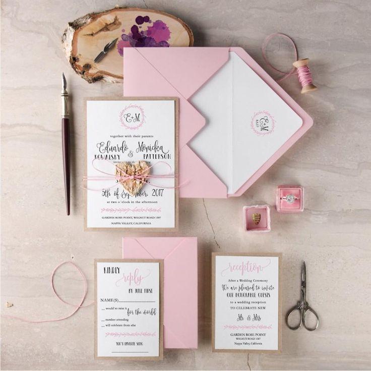 Wedding - Blush Wedding Invitation Suite, Rustic Wedding Invitation Set, Pink