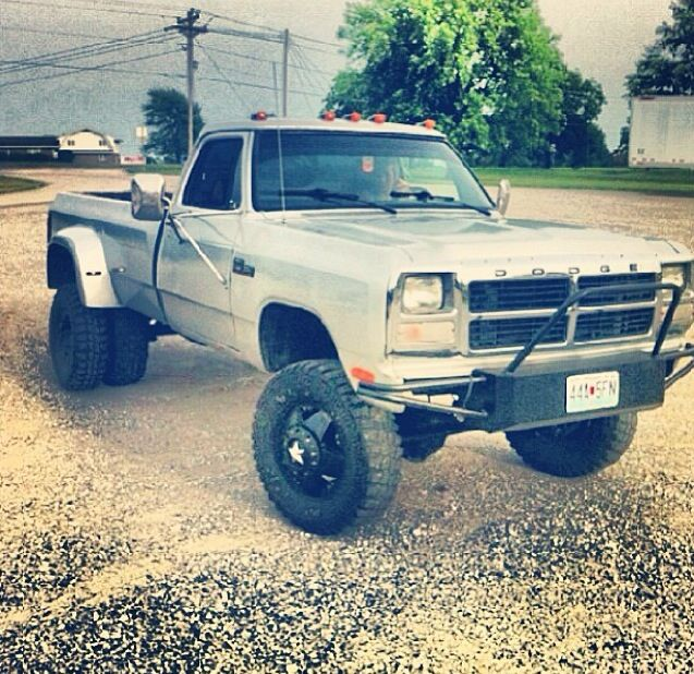 Lifted dually old body Dodge with first gen Cummins.... <3 <3 <3