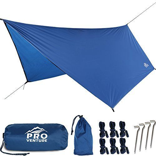 Proventure Large Hammock Rain Fly, Camping Tent Tarp- Premium Waterproof Hammock Shelter. Lightweight Ripstop Nylon 210D. Fast Set Up. No Instructions Needed. A Hammock Camping Essential! (12x9ft HEX). For product & price info go to:  https://all4hiking.c