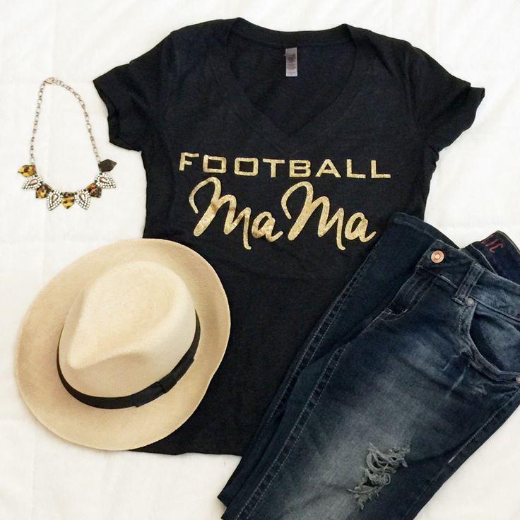 Football Mom Tshirt Custom Glitter Jersey Tee Tailgate