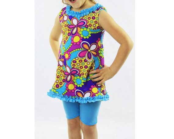 Girl's Premade Swimsuit  Colorful  Modest by NicoLeeSwimwear, $30.00