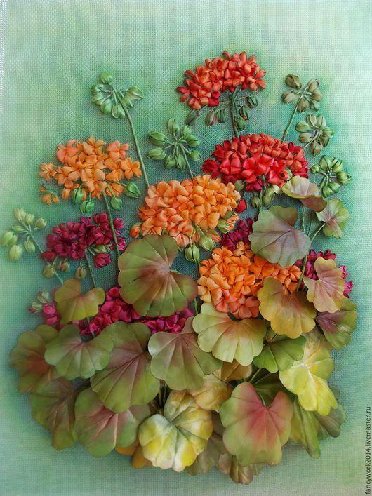 Картины цветов ручной работы. Ярмарка Мастеров - ручная работа. Купить Авторская вышивка лентами