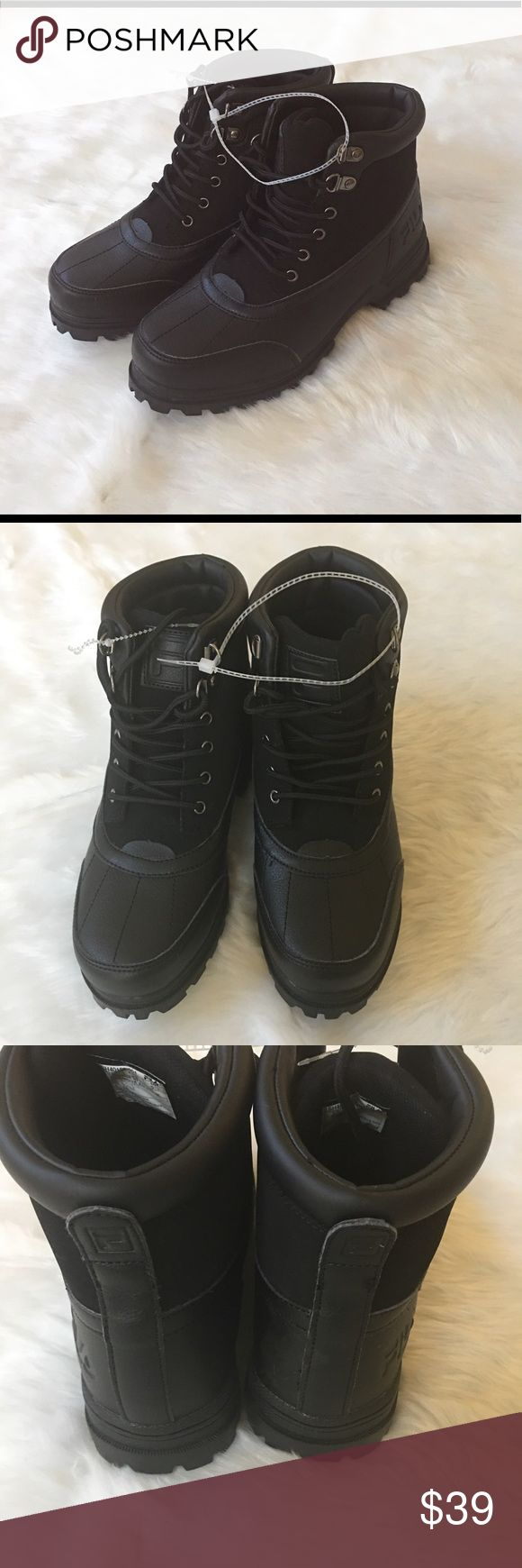 Men's Fila Black Boots size 6.5 Brand new with tag   Webbing lace-up closure for a strong and secure fit   The sturdy design ensures a snug fit and keeps your foot comfortable   This shoe has a thick outsole with lugs for excellent traction and good grip. It has a padded collar for cushioned comfort  Please view photos regarding condition and details Fila Shoes Boots