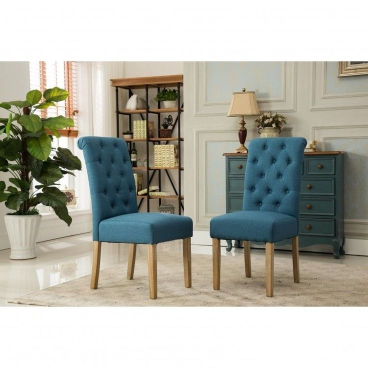 upholstered dining room chairs parsons set2 armless blue fabric button tufted