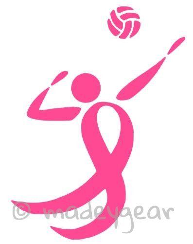 Car Window Vinyl Decal Sticker- Breast Cancer- Volleyball Pink Ribbon