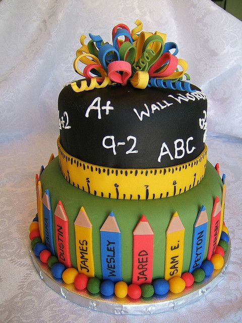 grade school teacher cake, pencils, ruler, chalkboard, math