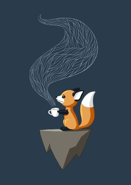 Fox Tea Art Print, baby fox, Illustrator, coffee, cartoon