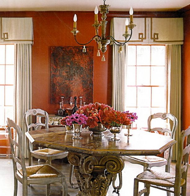I Love Reds Or Terra Cottas In This Traditional Dining Room Using These Colors Can