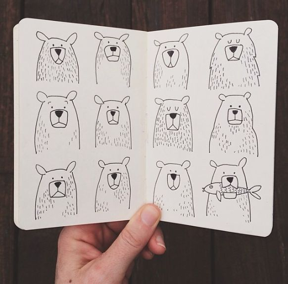 Too cute to bear | 1canoe2 on Instagram #illustration