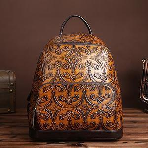 New Women Vintage Embossed Backpack Genuine Leather Daypack Shool Bag Knapsack Ladies Travel Rucksack