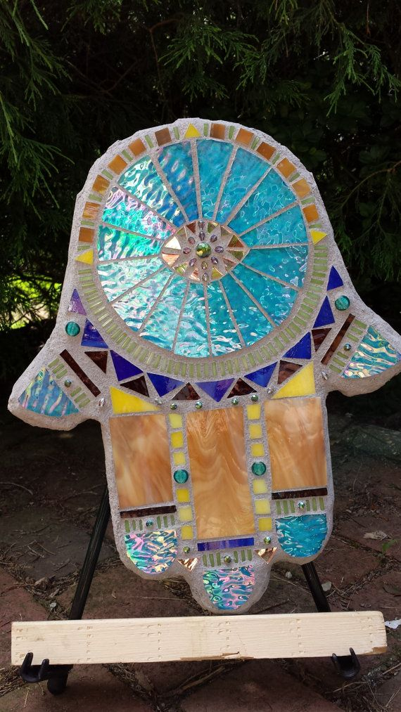 Stained glass mosaic Hamsa Hand of God by apomps on Etsy, $98.00