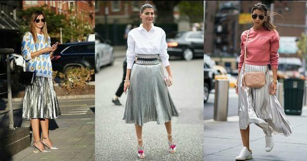 Ideas para combinar una falda plateada, ¡la estrella de la temporada!