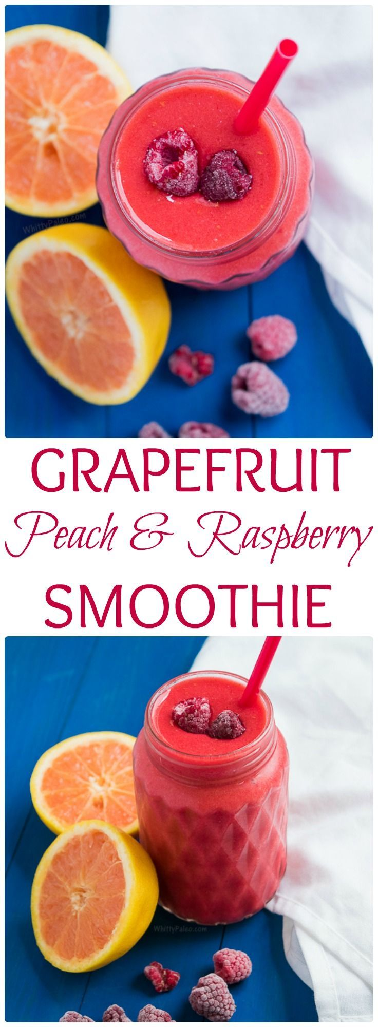 Healthy Paleo Dairy Free and Vegan Summer Grapefruit Peach Raspberry Smoothie - refresh yourself this summer with this sweet and cooling drink!  Absolutely no sugar added! From WhittyPaleo.com