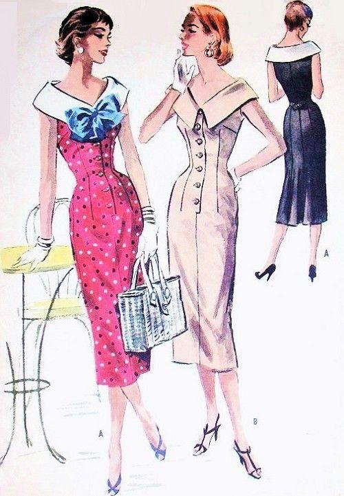 1950s Slim Day or After 5 Dress Pattern McCalls 3646 Face Framing Wide Neckline Slim Front Bust 30 Vintage Sewing Pattern