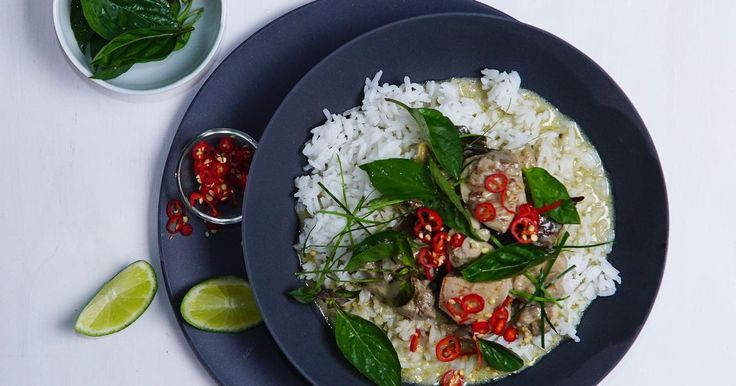 This spicy Thai-style green curry with chicken thigh fillets, eggplant and baby corn will warm you inside and out.