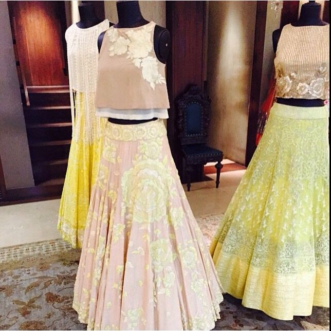 Pastel colored lehenga designed by manish malhotra