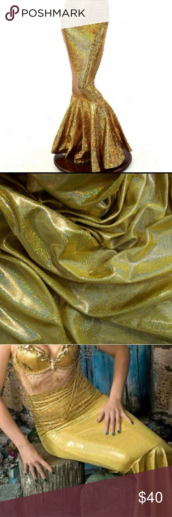 """Gold Fish Mermaid skirt Lycra spandex size M Halloween  High Waist Gold Shimmering Holographic Fish Mermaid Tail Skirt Sirens Hadmade item, size M This gorgeous skirt is made of four way stretch Lycra spandex, comfortable and figureflaunting  Skirt length 42"""" Waist 28""""-31"""" Hips 38""""-40"""" Skirts Maxi"""