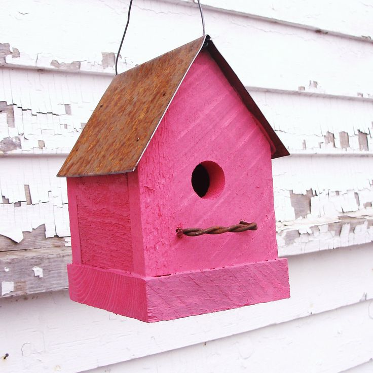 Flamingo Hot Pink Birdhouse Rustic Industrial Home And