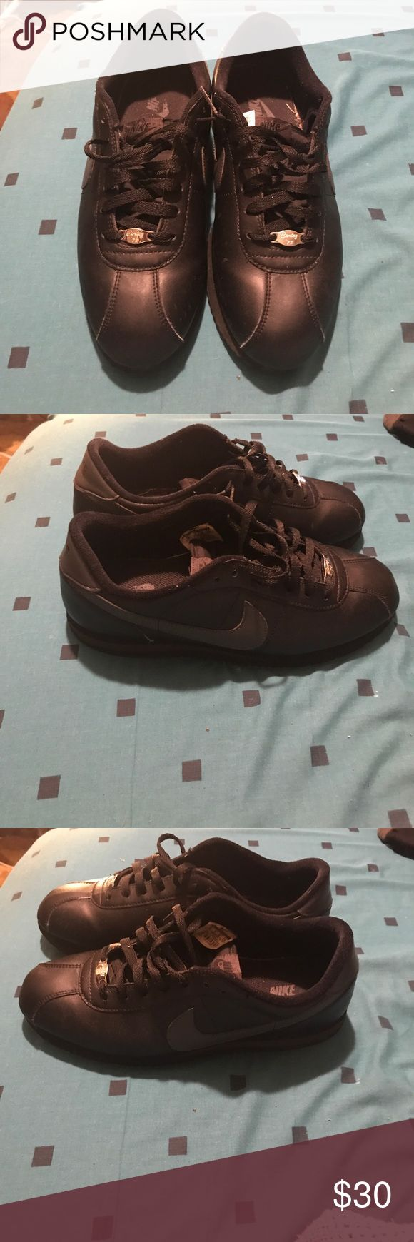 Black Nike Leather Cortez GUC Black Leather Cortez Grey Check. Need a wipe down, lots of life left! Make an offer. Authentic no 📦. Nike Shoes Sneakers