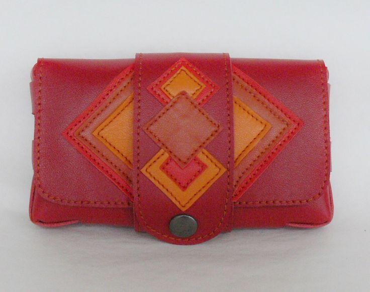 pochette en cuir rouge pour papiers, cartes ou tabac : Porte-monnaie, portefeuilles par cuir-de-persac
