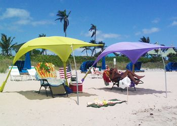 Shadebrella Beach Sun Shade Canopy | Cabana | Beach Cabanas | Beach Canopies | Modern Beach Umbrellas | Sun ...