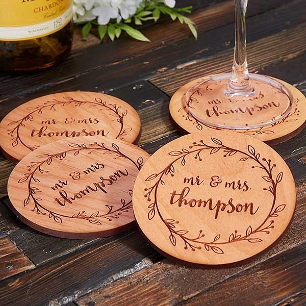 Farmhouse Wedding Personalized Coasters Wedding Favors