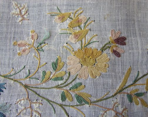 Maria Niforos - Fine Antique Lace, Linens & Textiles : Early Items # EI-20 Circa 1780's, Fine Muslin Panel w/ Tambour Work