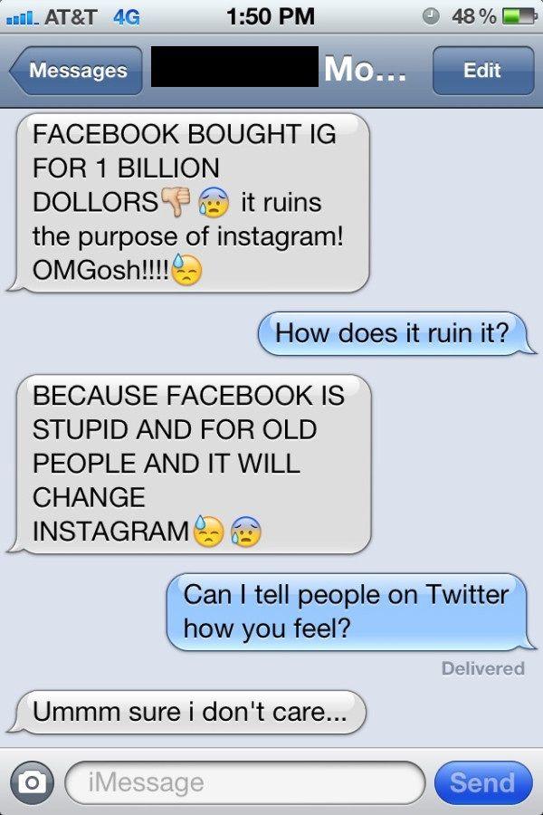 Facebook bought Instagram - a 12 year old's perspective, LOL:  Internet Site, Facebookinstagram Deals, Girls Generation, Ruins Instagram, Facebook Ruins, Facebook Acquisition, Facebook Instagram Deals, Old People, Kid