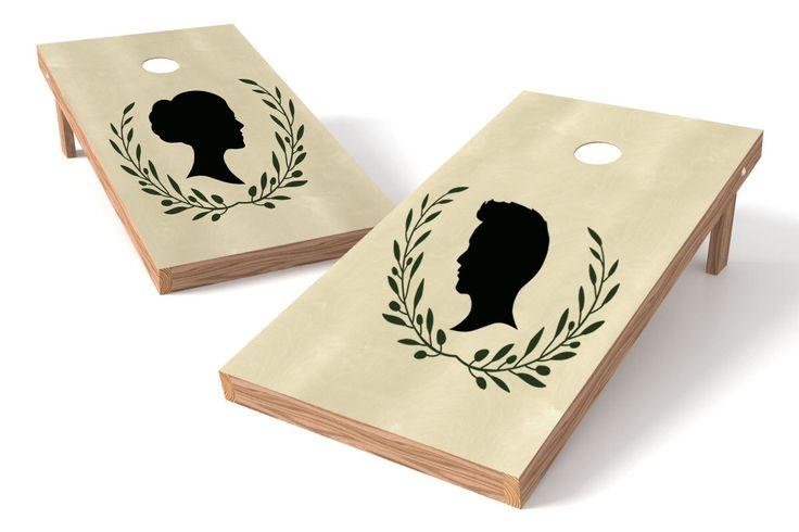 Custom Silhouette Cornhole Board Decals ~ Custom Decals ~ Custom Cornhole Boards ~ Wedding Cornhole Boards ~ Silhouette Decals ~ Silhouette by CreateYourOccasion on Etsy https://www.etsy.com/listing/285697515/custom-silhouette-cornhole-board-decals