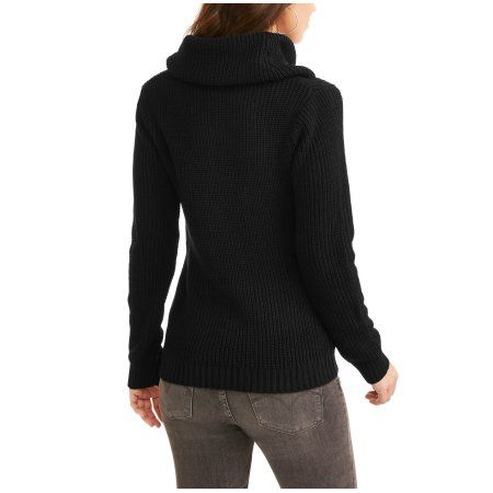 Willow & Wind Women's Cowl Neck Sweater, Size: Large, Black