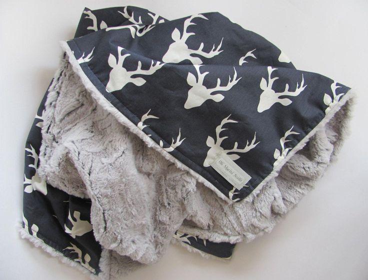 baby boy blanket,baby nursery,deer minky blanket,buck plush minky blanket by OliMariniStudio on Etsy